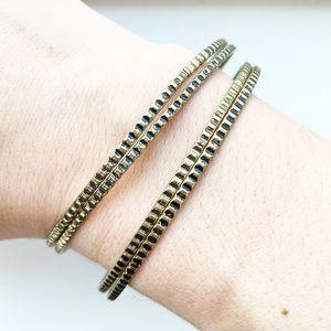 Vintage brassy gold thin tribal bangle bracelets